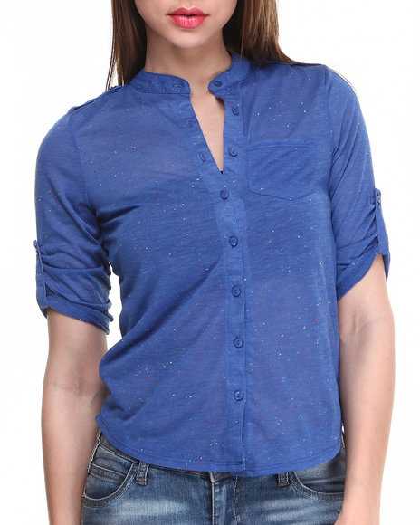 Almost Famous Blue Confetti Jersey Knit Shirt