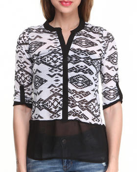 Almost Famous - Aztec Jersey Chiffon Bottom Shirt