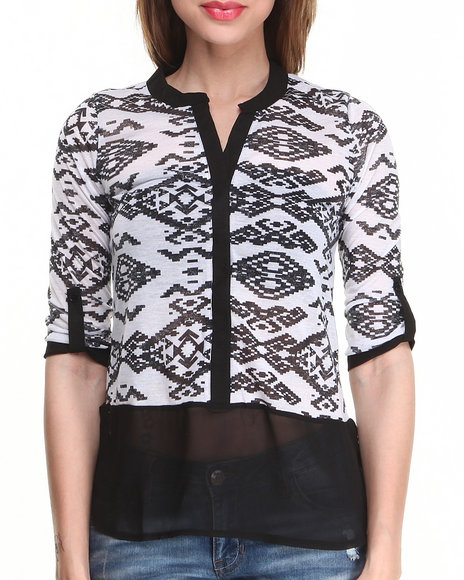 Almost Famous - Women Black,White Aztec Jersey Chiffon Bottom Shirt - $8.99