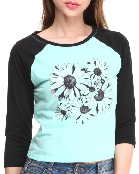 Almost Famous Light Blue Daisy Screen Baseball Top