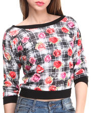 Women - Plaid Floral Chiffon Athletic Top