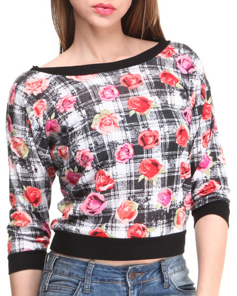 Almost Famous - Women Black,Red Plaid Floral Chiffon Athletic Top