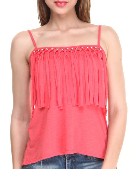Almost Famous Coral Fringe Days Knit Tank