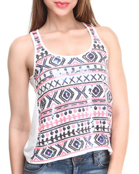 Almost Famous Blue,White Aztec Way Sequin Tank