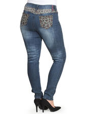 Plus Size - Wild Safari Leopard Back Jeans