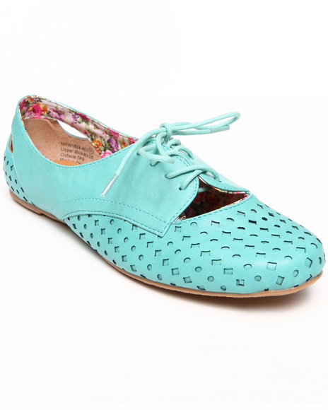 Not Rated - Women Teal Laser Cut Jaz Oxford