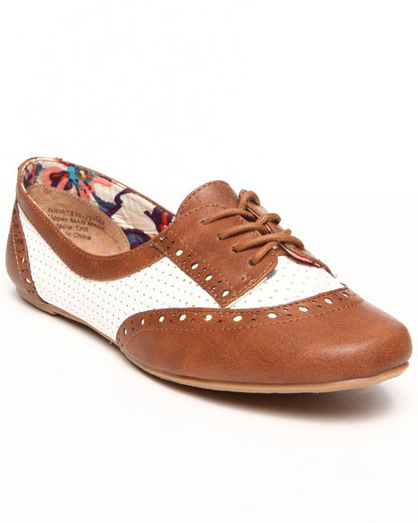 Not Rated - Women Tan Perforated Colorblock Jaz Oxford