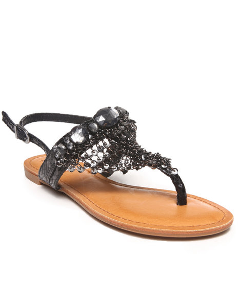 Not Rated - Women Black Chain Mail Bling Trim Sandal