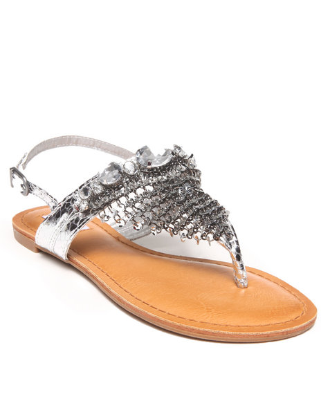 Not Rated - Women Silver Chain Mail Bling Trim Sandal
