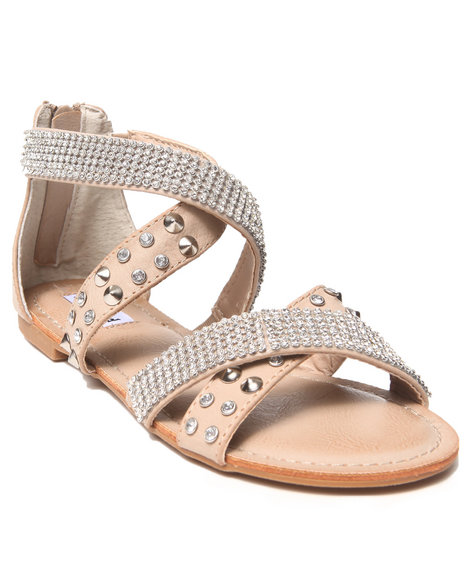 Not Rated - Women Cream Bling Studded Straps Sandal