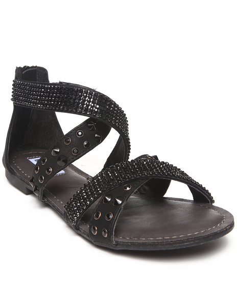 Not Rated - Women Black Bling Studded Straps Sandal