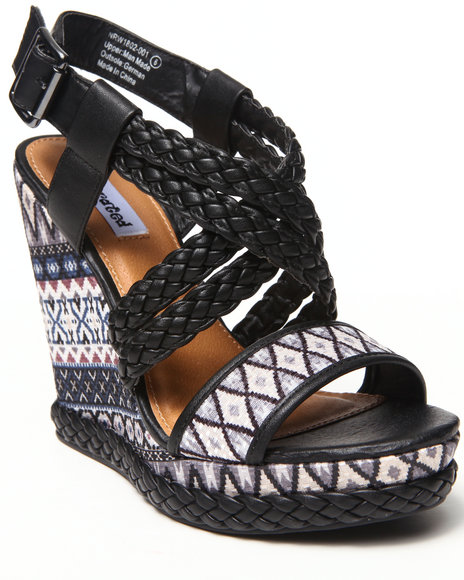 Not Rated - Women Black Tribal Print Braided Wedge
