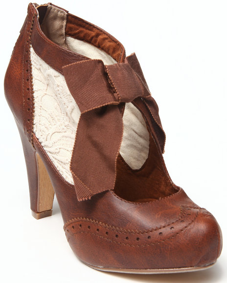 Not Rated Tan Crochet Inset Oxford Heel