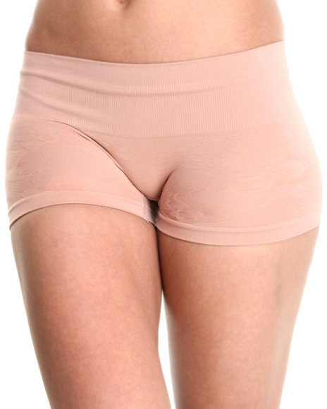 Drj Lingerie Shoppe - Women Beige Seamless Lace Textured Shape Short