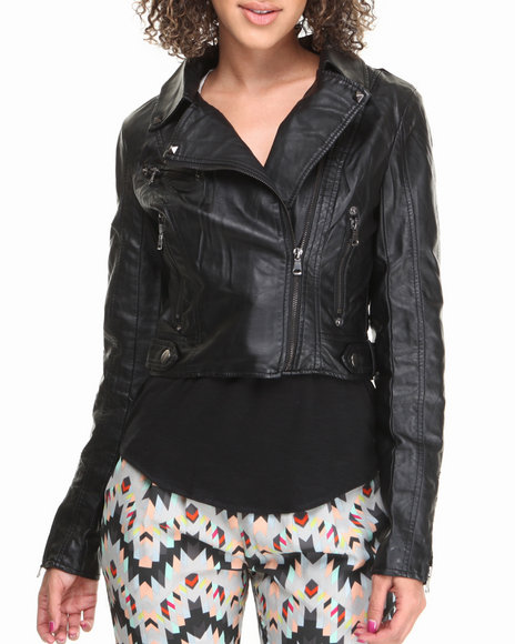 Fashion Lab - Women Black Light Weight Vegan Leather Jacket