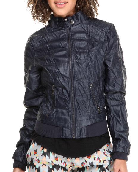 Fashion Lab - Women Navy Full Zip Jacket With Moto Detailing