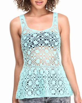 Fashion Lab - Crochet Peplum Top w/ V-Back