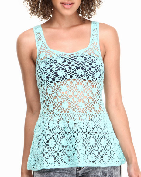 Fashion Lab - Crochet Peplum Top w/ V-Back
