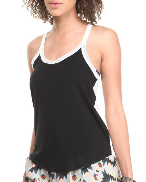 Fashion Lab Off White,Black Eggwhite Colorblock Scoop Neck Tank W/ Chiffon Back