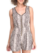 Jumpsuits - Snake Print Zip Front Romper