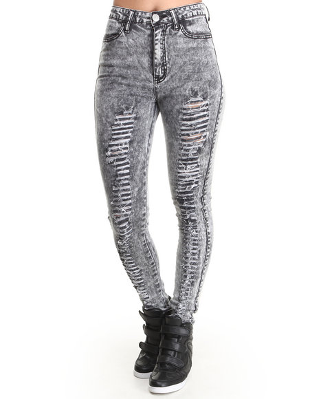 Almost Famous - Women Grey Distructed High Rise Skinny Jean