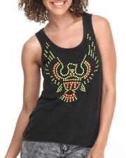 Tops - Acid Wash Trapeze Hem Tank w/ Neon Eagle