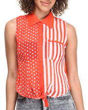 Women - Dot Stripe Tie Front Sleeveless Top