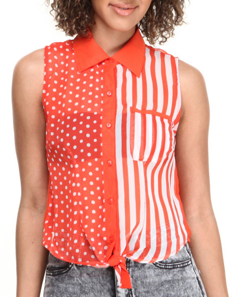 ALI & KRIS Orange,White Dot Stripe Tie Front Sleeveless Top