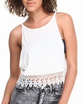 Fashion Lab - Cropped Cami w/ Oversized Armhole & Lace Trim