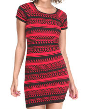 Dresses - Bell Short Sleeve Tribal Print Bodycon Dress