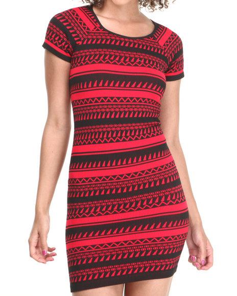 Fashion Lab - Women Black,Red Bell Short Sleeve Tribal Print Bodycon Dress