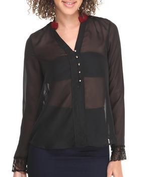 Fashion Lab - Long Sleeve Top w/ Blue Trim & Stud Details