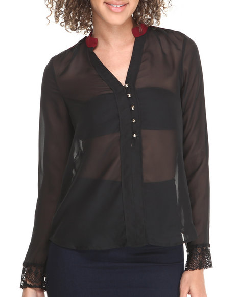 Fashion Lab - Women Black Long Sleeve Top W/ Blue Trim & Stud Details
