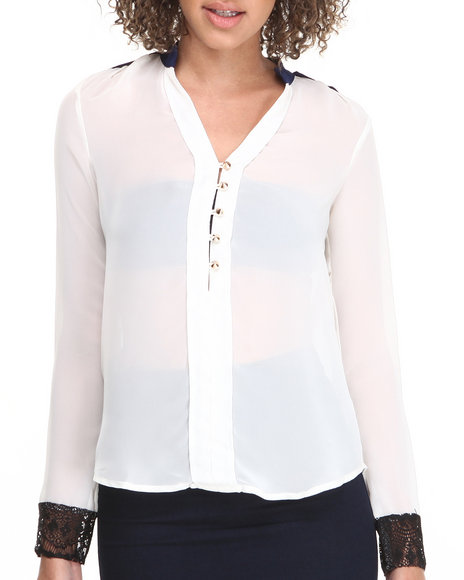 Fashion Lab - Long Sleeve Top w/ Blue Trim & Stud Details