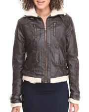 Outerwear - Winter Puffer Jacket w/ Faux Fur Trim