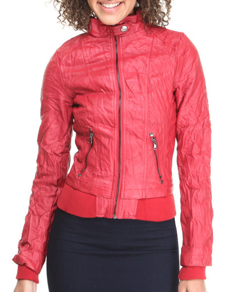 Fashion Lab - Women Red Full Zip Jacket With Moto Detailing