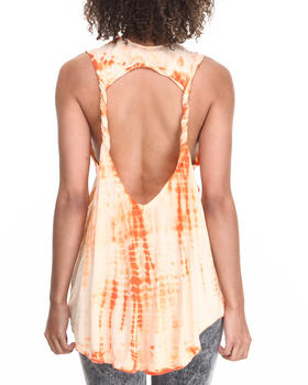 Fashion Lab - Tie-Dye Hi-Lo Tank w/ Twisted Back