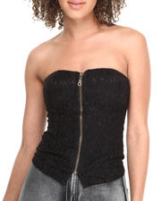 Tops - Lace Zip Front Bustier