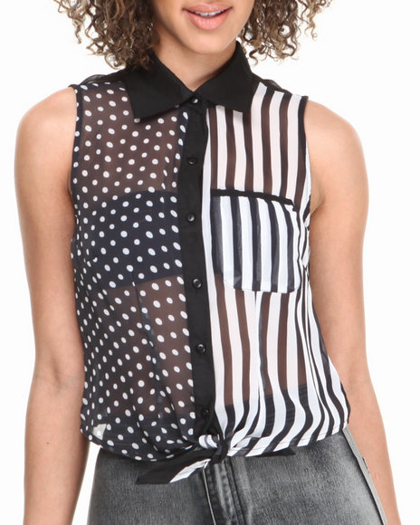 ALI & KRIS Black,White Dot Stripe Tie Front Sleeveless Top