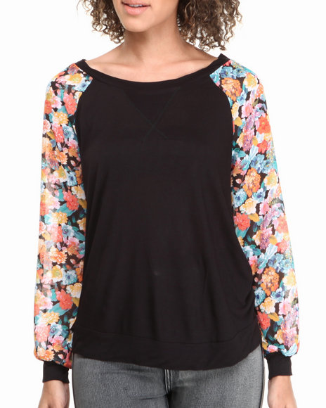 ALI & KRIS Black Floral Sleeves Athletic Crewneck Top