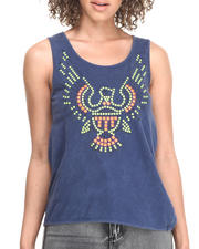 Tops - Night Sky Acid Wash Trapeze Hem Tank w/ Neon Eagle