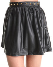 Bottoms - Studded Vegan Leather Skater Skirt