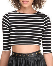 Tops - Striped 3/4 Sleeve Cropped Top
