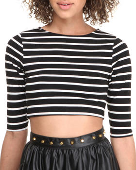 Fashion Lab - Striped 3/4 Sleeve Cropped Top