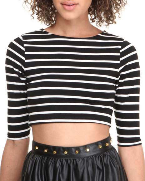 Fashion Lab - Women Black Striped 3/4 Sleeve Cropped Top