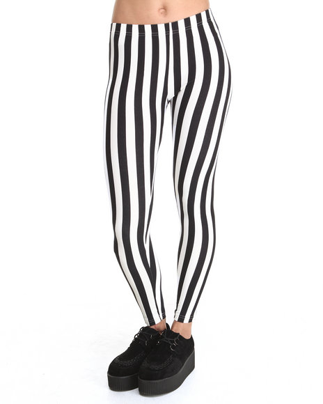 Rampage - Women Black,White Stripe Madness Mod Legging - $14.99