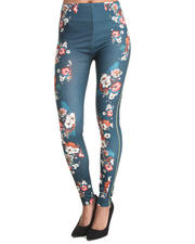 Women - Floral Print Panel Legging