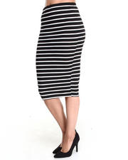 Women - Striped Midi Skirt