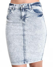 Women - Acid Denim Skirt