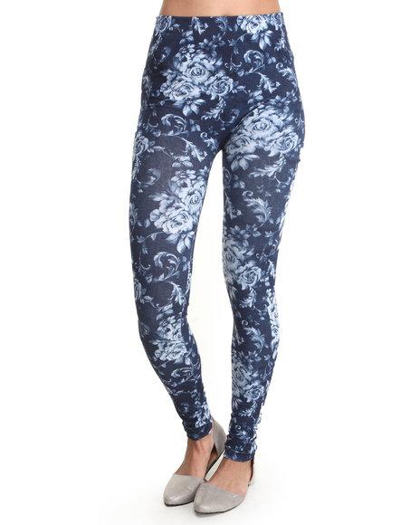 Fashion Lab - Women Navy Denim Rose Sublimation Print Legging